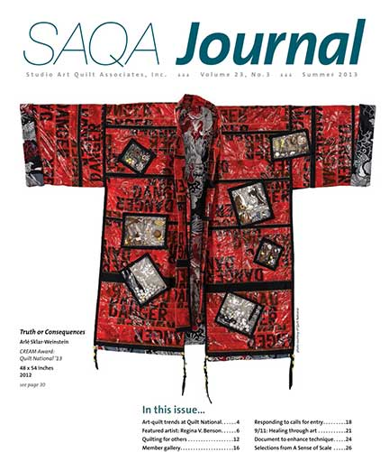SAQA Journal cover with Arle Sklar-Weinstein's Truth or Consequences