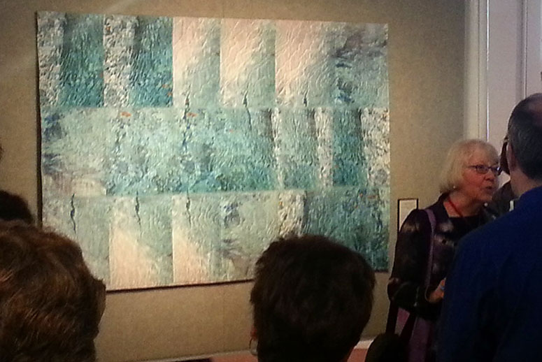 Charlotte Ziebarth speaks at the opening of Quilt National 2013 in Athens, OH