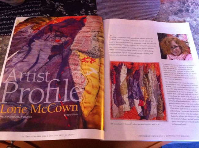 The artist profile in Quilting Arts (October/November 2014)