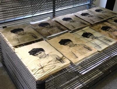 Silkscreen prints on hand-dyed fabric