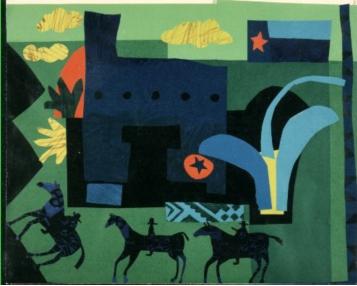 LOS CONQUISTADOR, 1993, Paper collage by Pamela Allen