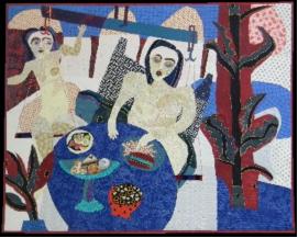 THE BIG LOSER, 1st prize Masters Original Design La Conner quilt Museum 2013 by Pamela Allen